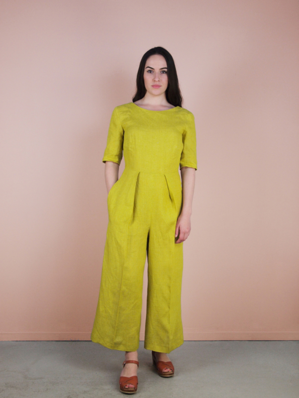 Sarah Jumpsuit 100% linnen yellow