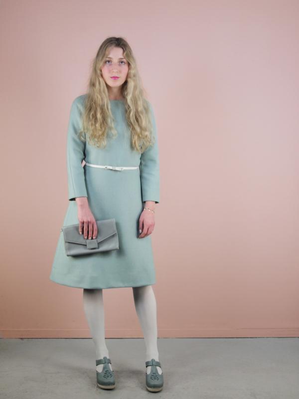 Jacky jurk 100% wol ijsblauw