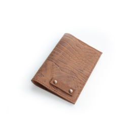 Passport cover - croco brown
