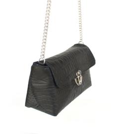Croco zwart schoudertasje marit