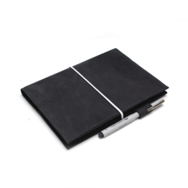 Dark gray leather notebook case A5