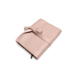 Lederen agenda/notitieboek hoes oud roze A5