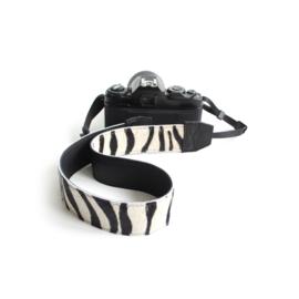 Leren camerariem - zebra | zwart