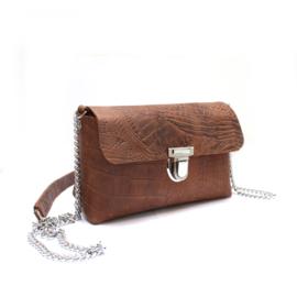 Crossbody bag Marit - croco brown silver