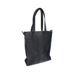 Shopper croco zwart/groen - ongevoerd