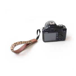 Leren camera polsband - cognac | cheetah bruin