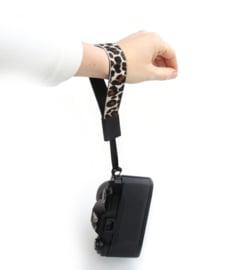 Leren camera polsband Luipaard III