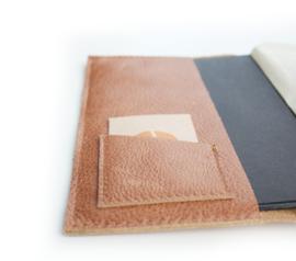 Lederen agenda/notitieboek hoes cognac A5