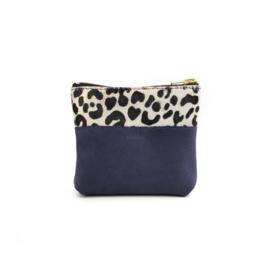 Etui make-up tasje suede blauw luipaard
