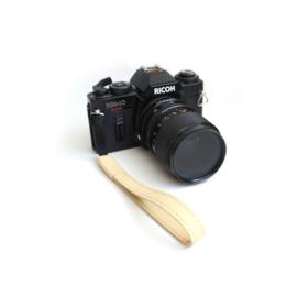 Leren camera polsband smal - geel