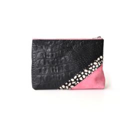 Etui make-up tasje croco zwart roze - schuin
