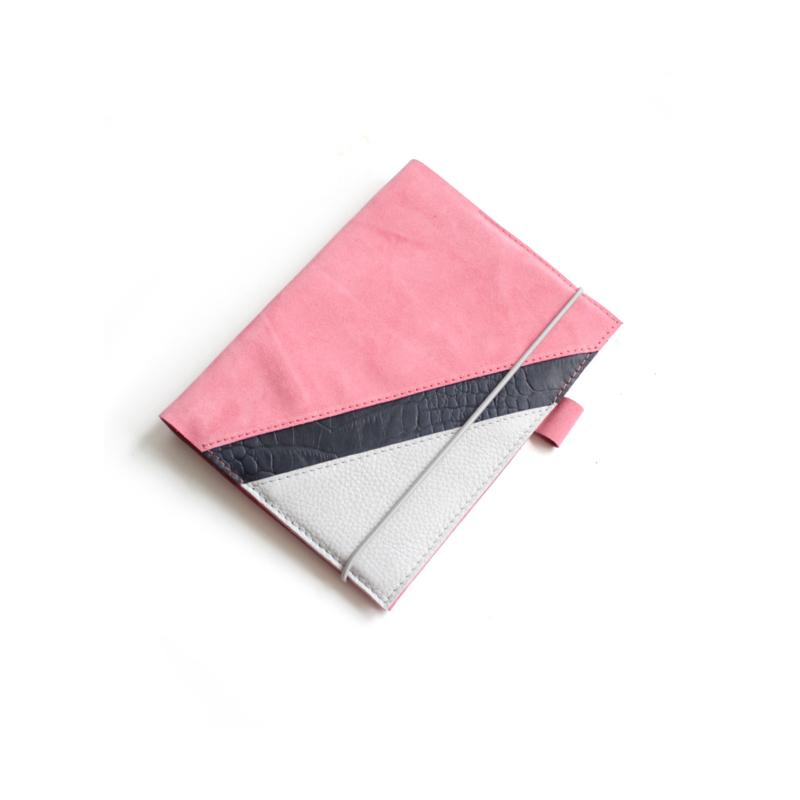 Lederen agenda/notitieboek hoes suede roze A5