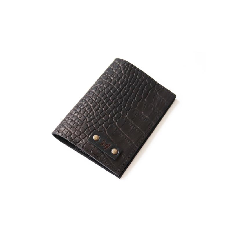 Passport cover - croco black
