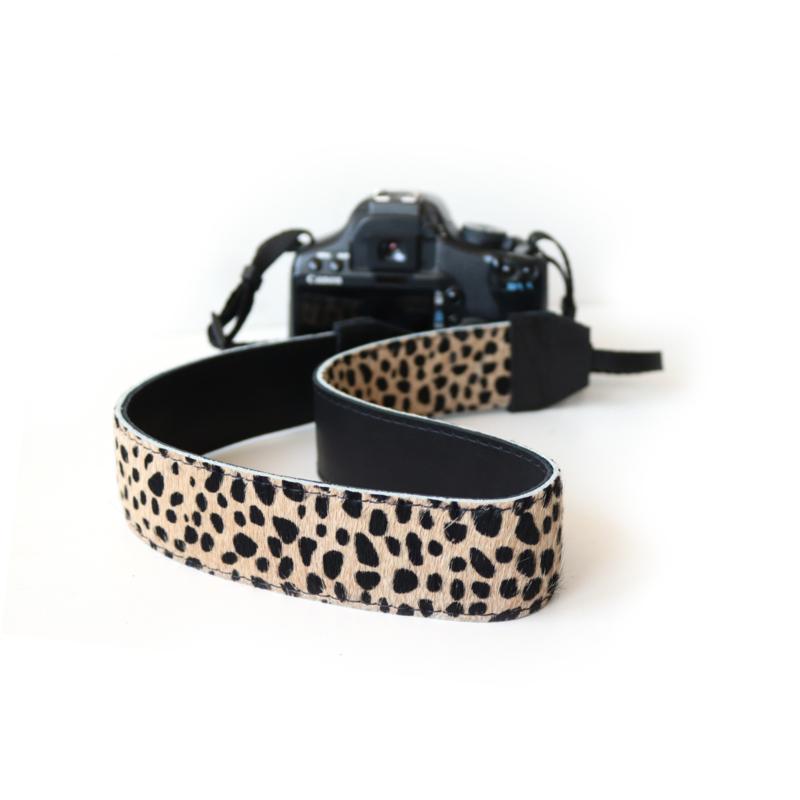 Leren camerariem Cheetah - zwart