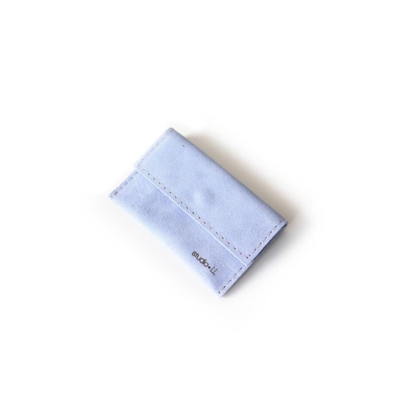 Mini portemonnee No.2 pastel blauw suede