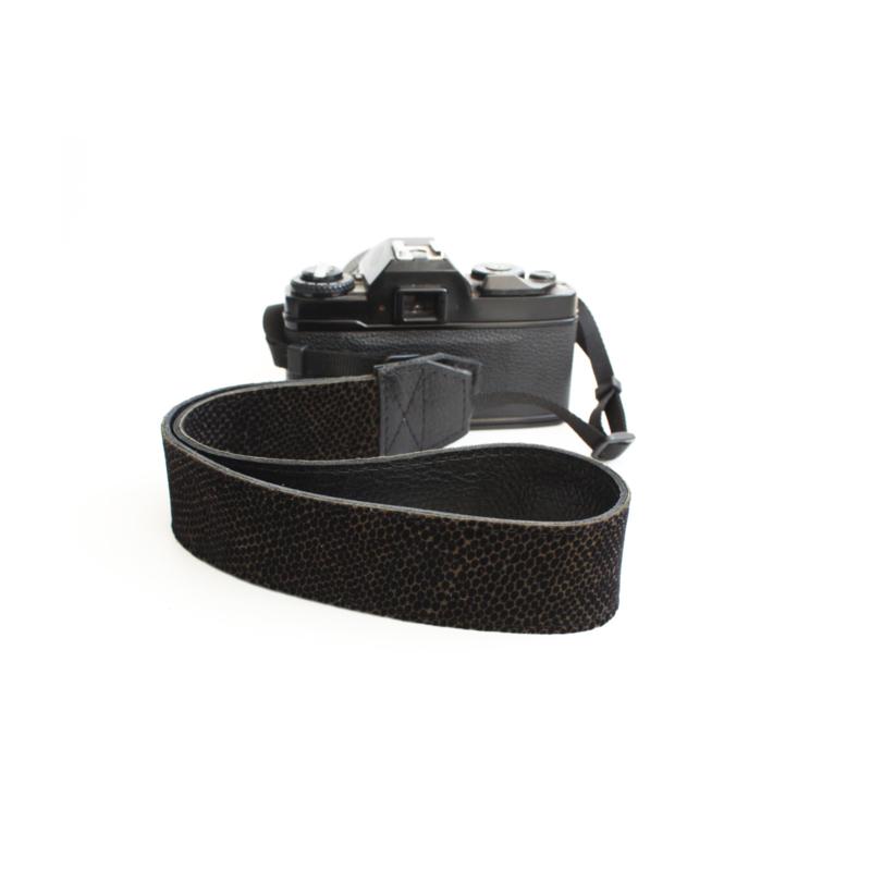 Leren camerariem mini dots - zwart