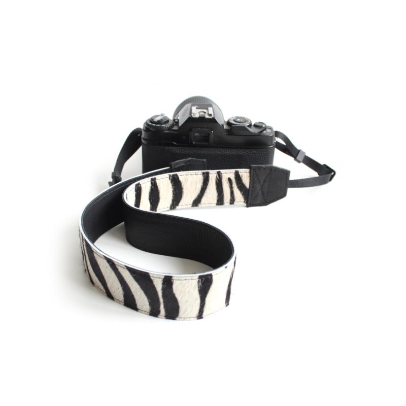 Leren camerariem - zebra I | zwart