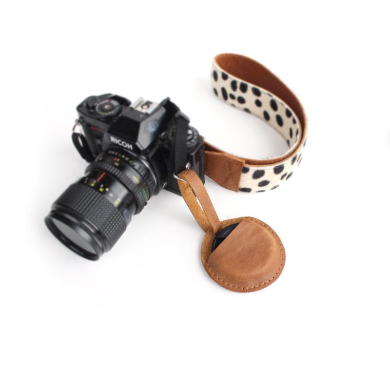 Leren camera lensdop houder - meerdere kleuren