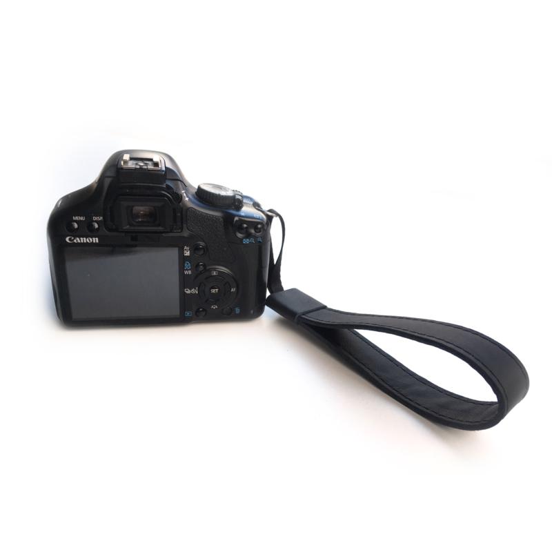 Leren camera polsband zwart