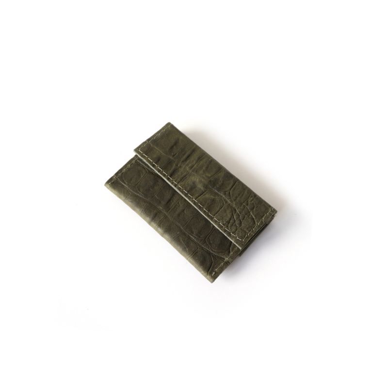 Mini portemonnee No.2 croco donker groen