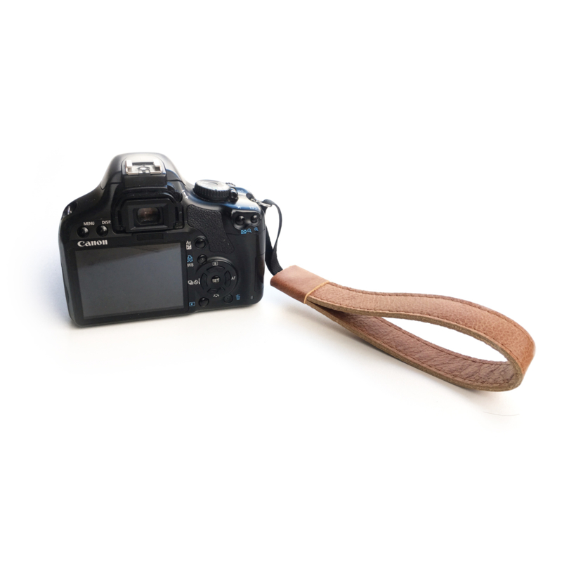 Leren camera polsband cognac