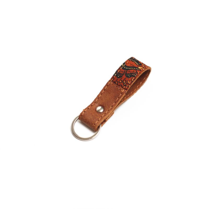 Batik cognac sleutelhanger - oranje