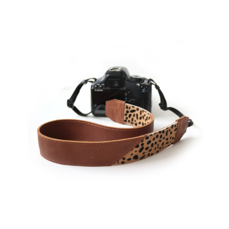 Leren camerariem Chantal -  cognac   cheetah bruin