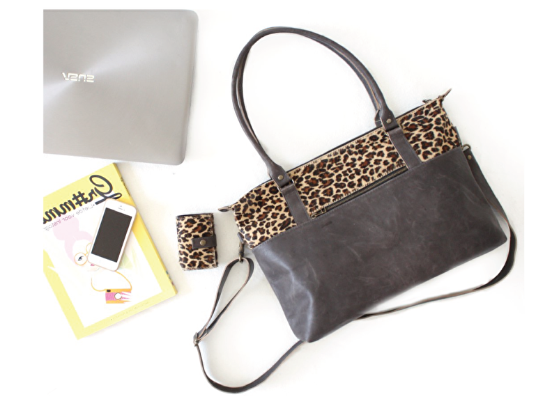 laptop tas dames shopper leer panter print grijs