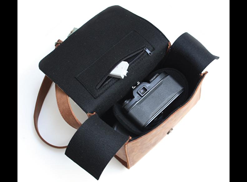 hippe leren cameratas voor camera met 2 lenzen