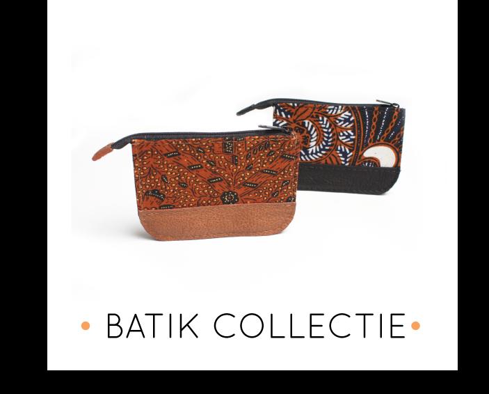 handgemaakte leren producten van batik stof