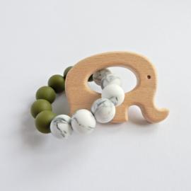 Bijtring | Olijfgroen-marble