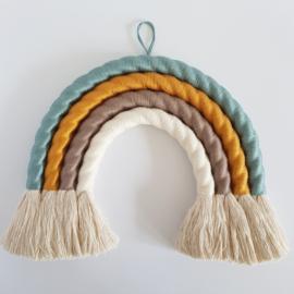 Macramé regenboog wandhanger | Maat S | Oudblauw-okergeel