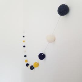 Slinger viltballetjes | Geel-blauw-grijs-ecru