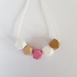Borstvoedingsketting | Beige-roze-wit