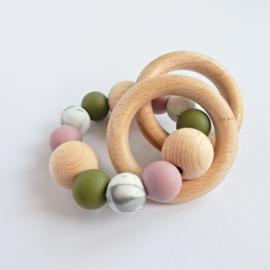 Bijtring   Olijfgroen-lila-marble