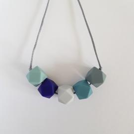 Borstvoedingsketting | Blauw-grijs-mint