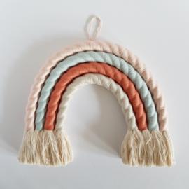 Macramé regenboog | Maat S | Roze-blauw-roest