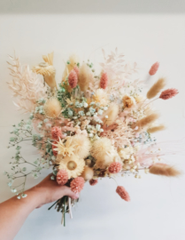 soft colours droogbloemen boeket medium