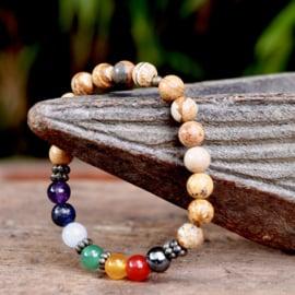 7 Chakra Healing Jaspis Mala Armband
