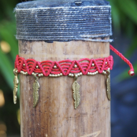 Anklet Feather Mint Rood