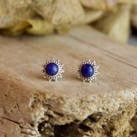 Zilveren Oorknopje Lapis Lazuli
