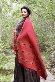 Bali Sjaal Omslagdoek Donker rood