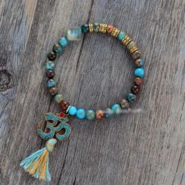 Handgemaakte Natural Jasper OM Mala Bead Bracelet Turqoise