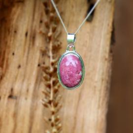 Zilveren hanger Roze Jaspis