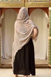 Hooded Poncho hennep Licht Taupe