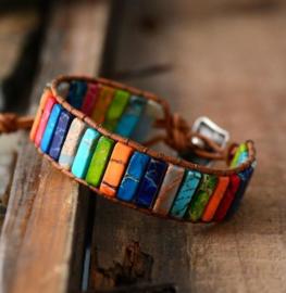 Handgemaakte Rainbow Jasper Leather Wrap Bracelet
