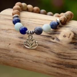 Aquamarine, Jasper Lotus Armband