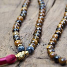 Tigereye Golden Buddha Mala