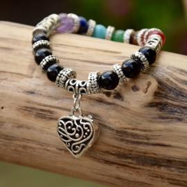 7 Chakra Healing Mala Heart Armband