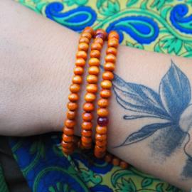 Tibetan Orange Mala 6 mm.